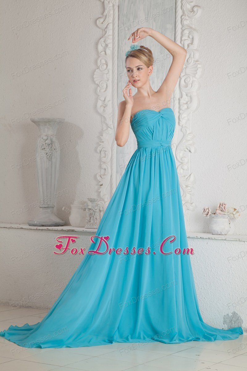 Baby Blue A-line Prom Dress Sweetheart Court Train Ruch