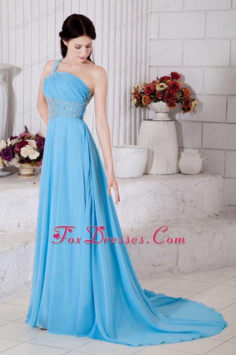 Aqua Blue One Shoulder Prom Dress On Sale