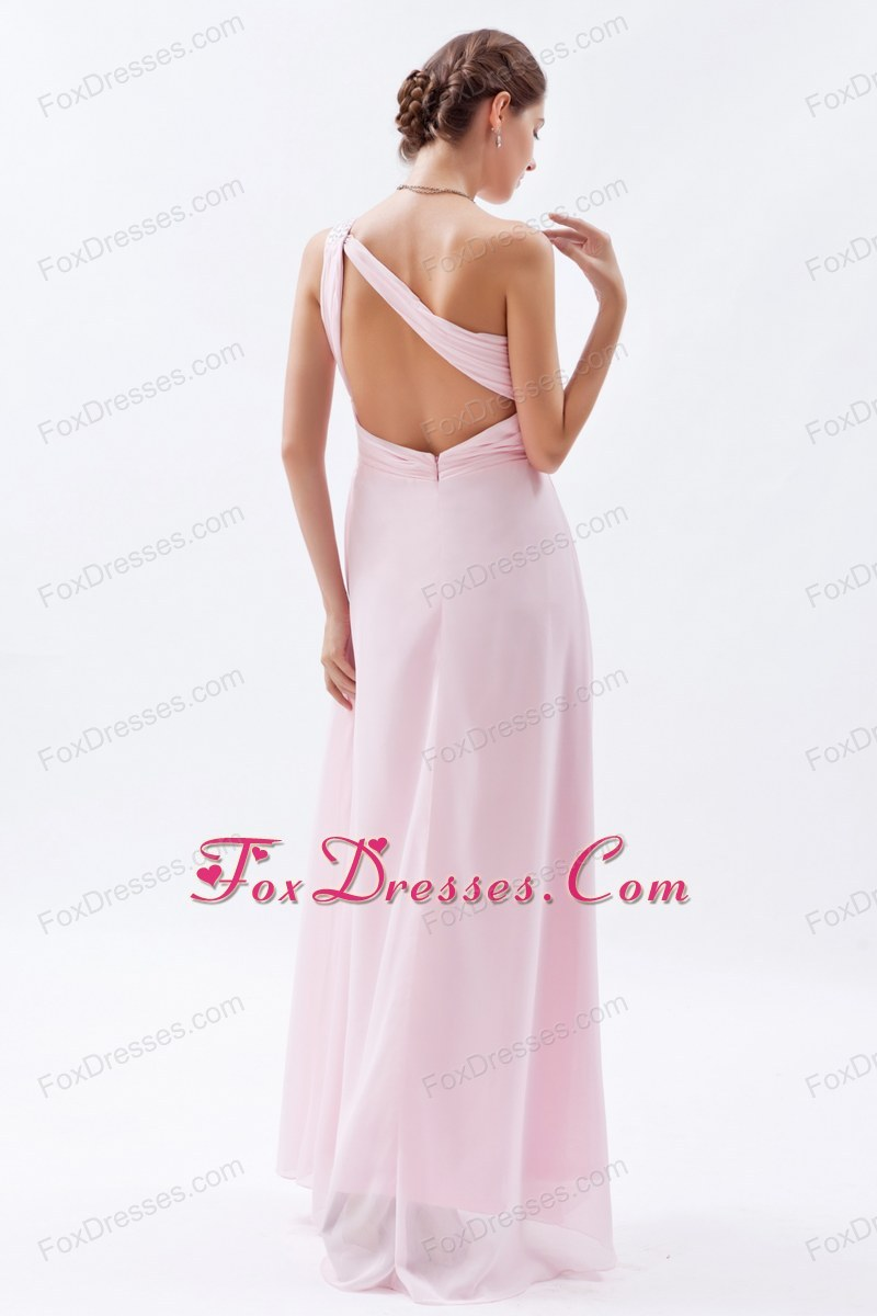 Baby Pink One Shoulder Floor-length Beading Prom Dress