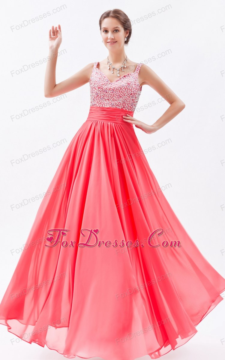 Straps Floor-length Chiffon Beading Prom Dress Watermelon