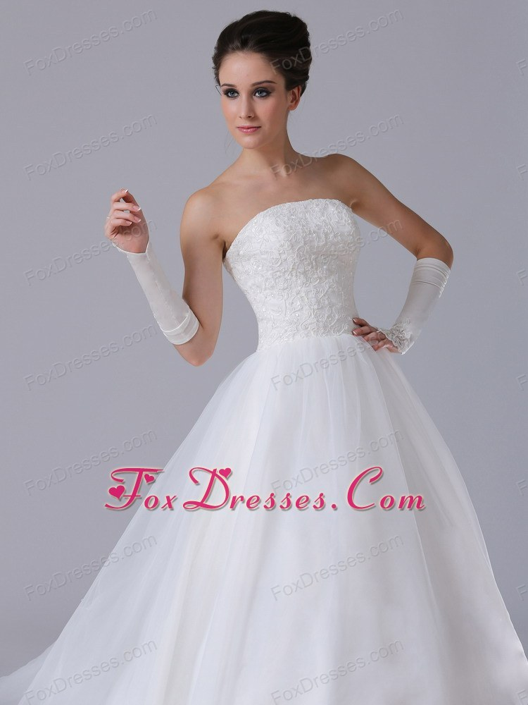 Organza Chapel Train Ball Gown 2013 Beach Wedding Dress