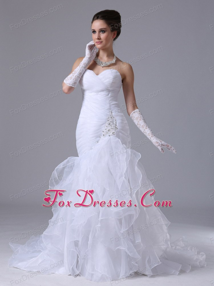 Popular Ruched Mermaid Layers Wedding Dress Beaded 2013