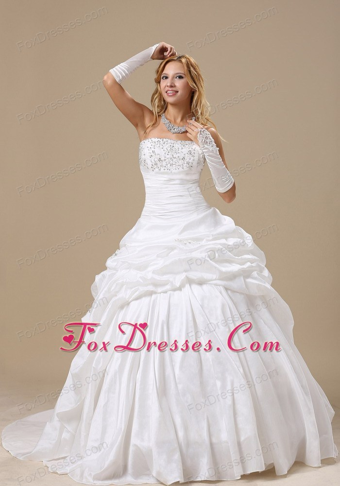 Pick-ups Ball Gown Appliques Ruched Wedding Dress 2013