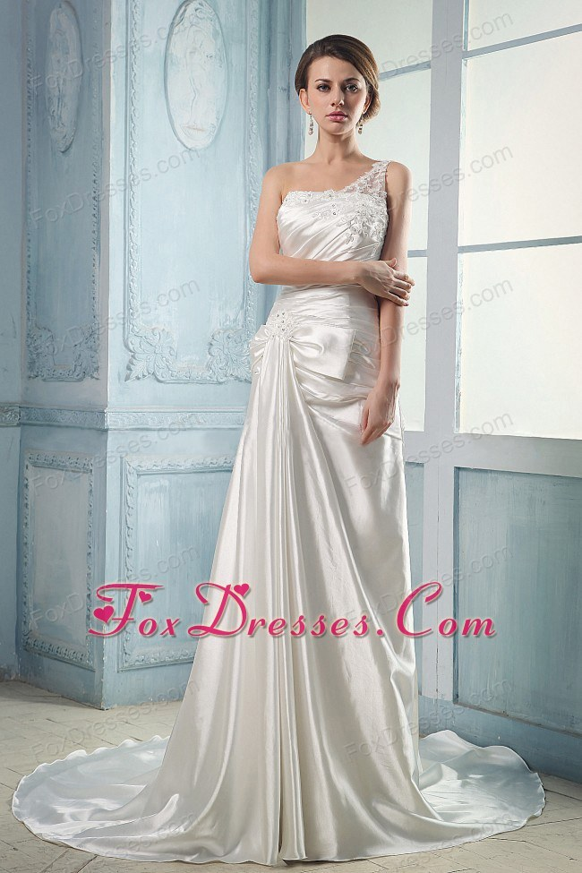 One Shoulder Appliques Beading Wedding Dresses Ruched Train