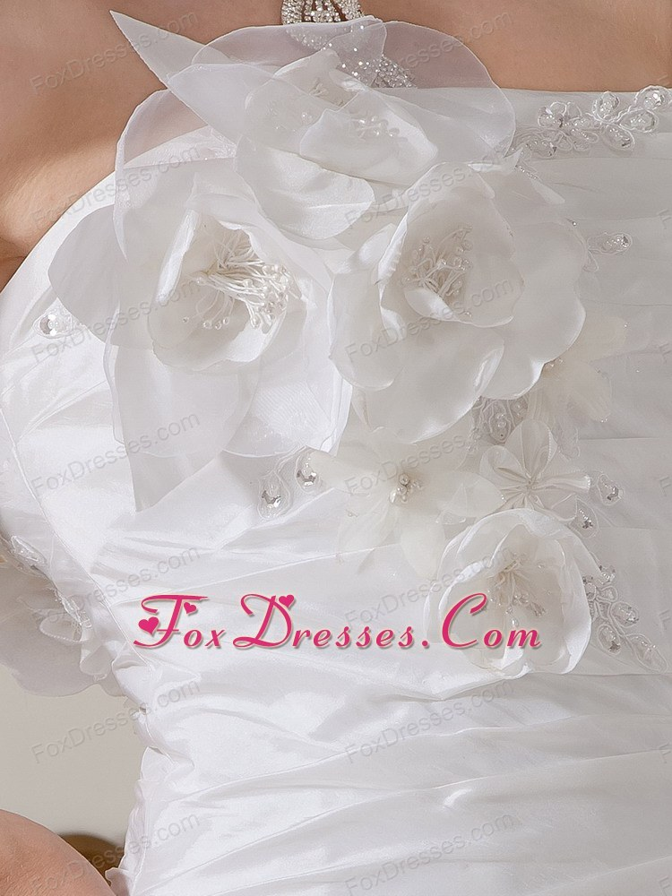 simple taffeta court train bridal gown