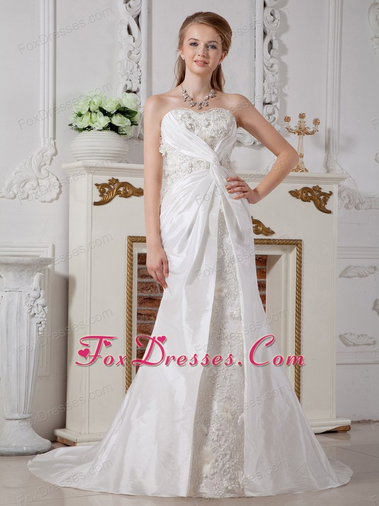 Affordable Lace Ruch Wedding Bridal Dress Flowers Court Train