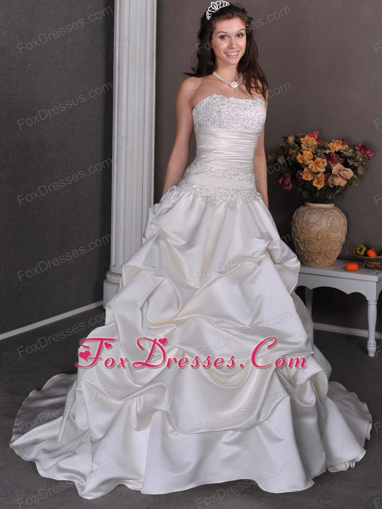 customer made tie back princess wedding gowns