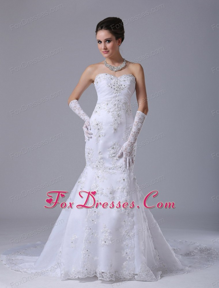 Popular Lace Wedding Dress Beading Sweetheart Mermaid
