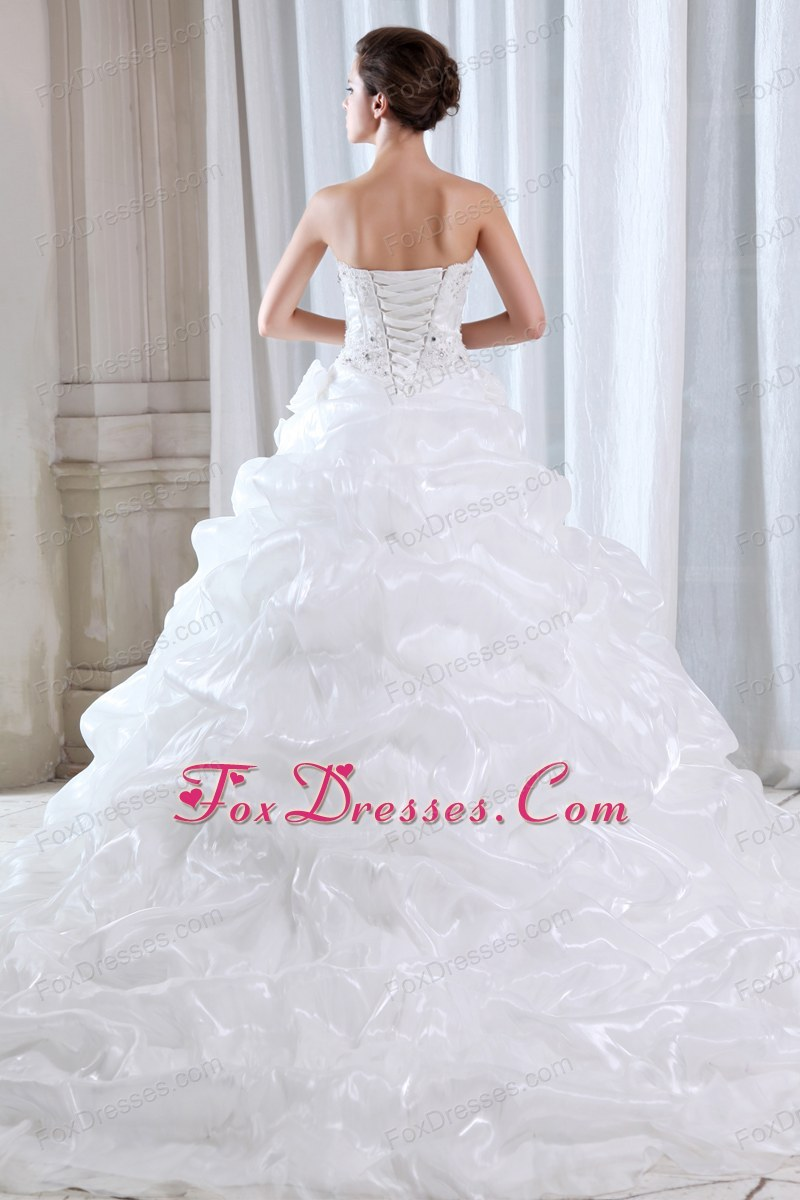 cheap court train bridal dresses