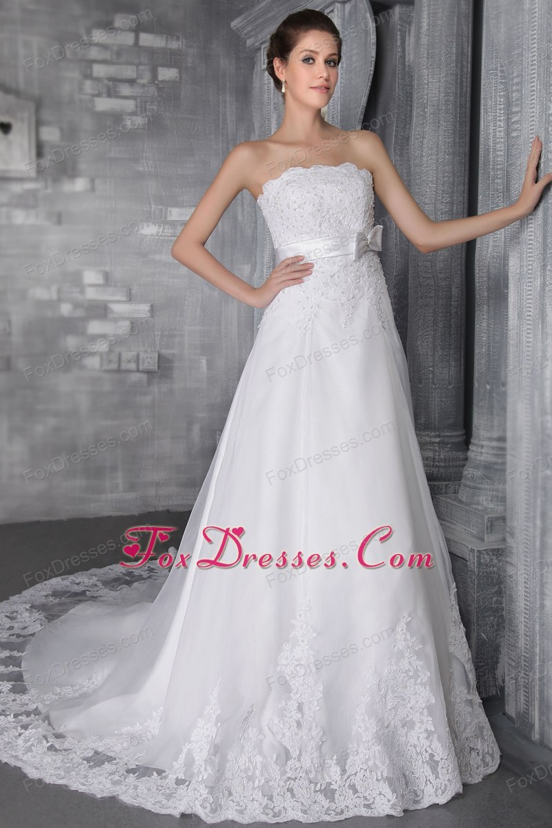 Chapel Lace Beading Wedding Dress Popular A-Line