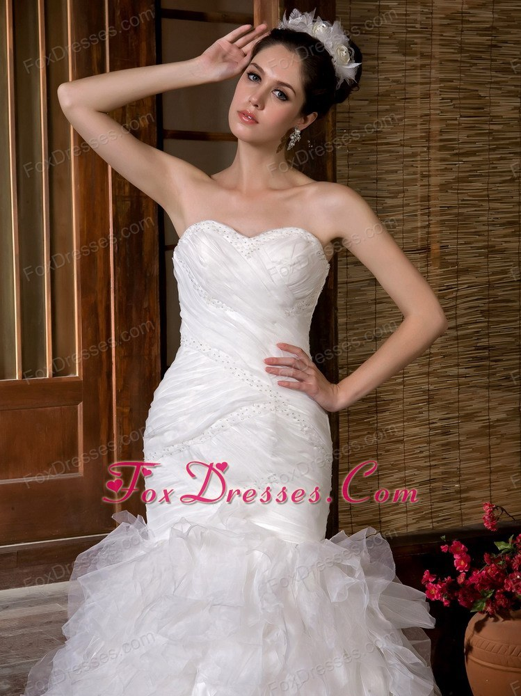 Popular Mermaid Sweetheart Ruch Rufffles Wedding Dress