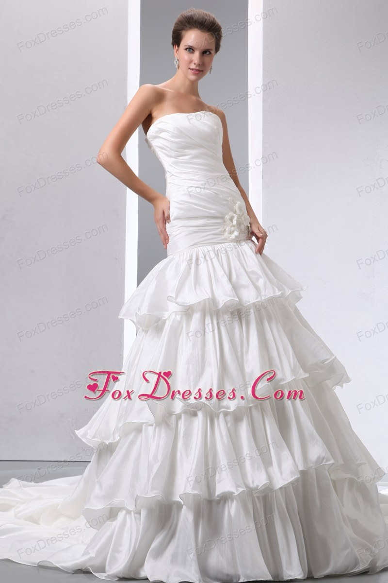 Strapless Taffeta Popular Wedding Dress Flower Ruch