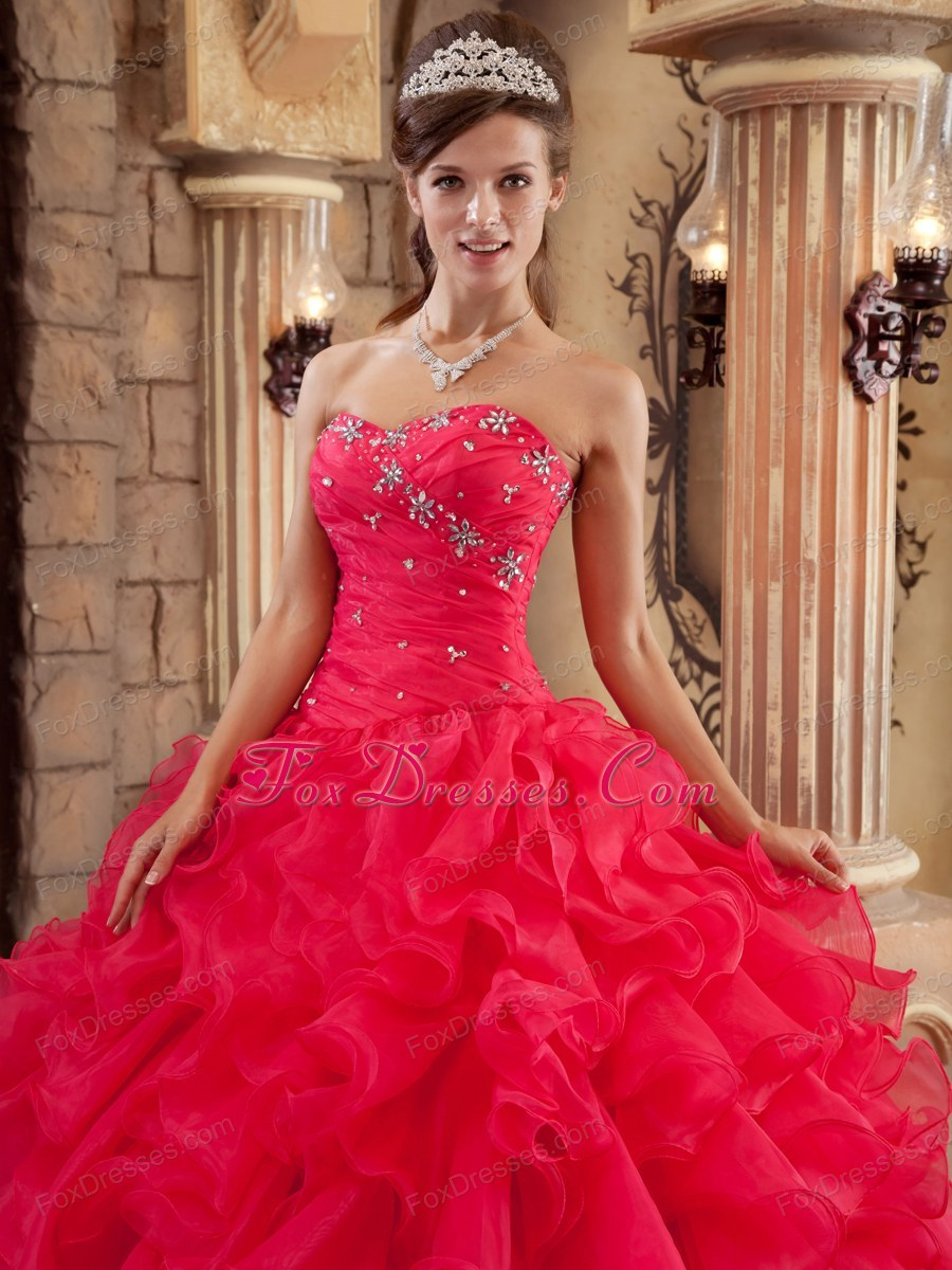 Red Sweetheart Ruffles Quinceanera Dress