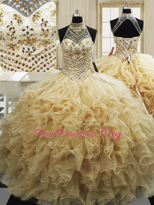 Fashionable Beading and Ruffles Quinceanera Gowns Champagne Lace Up Sleeveless With Train Sweep Train