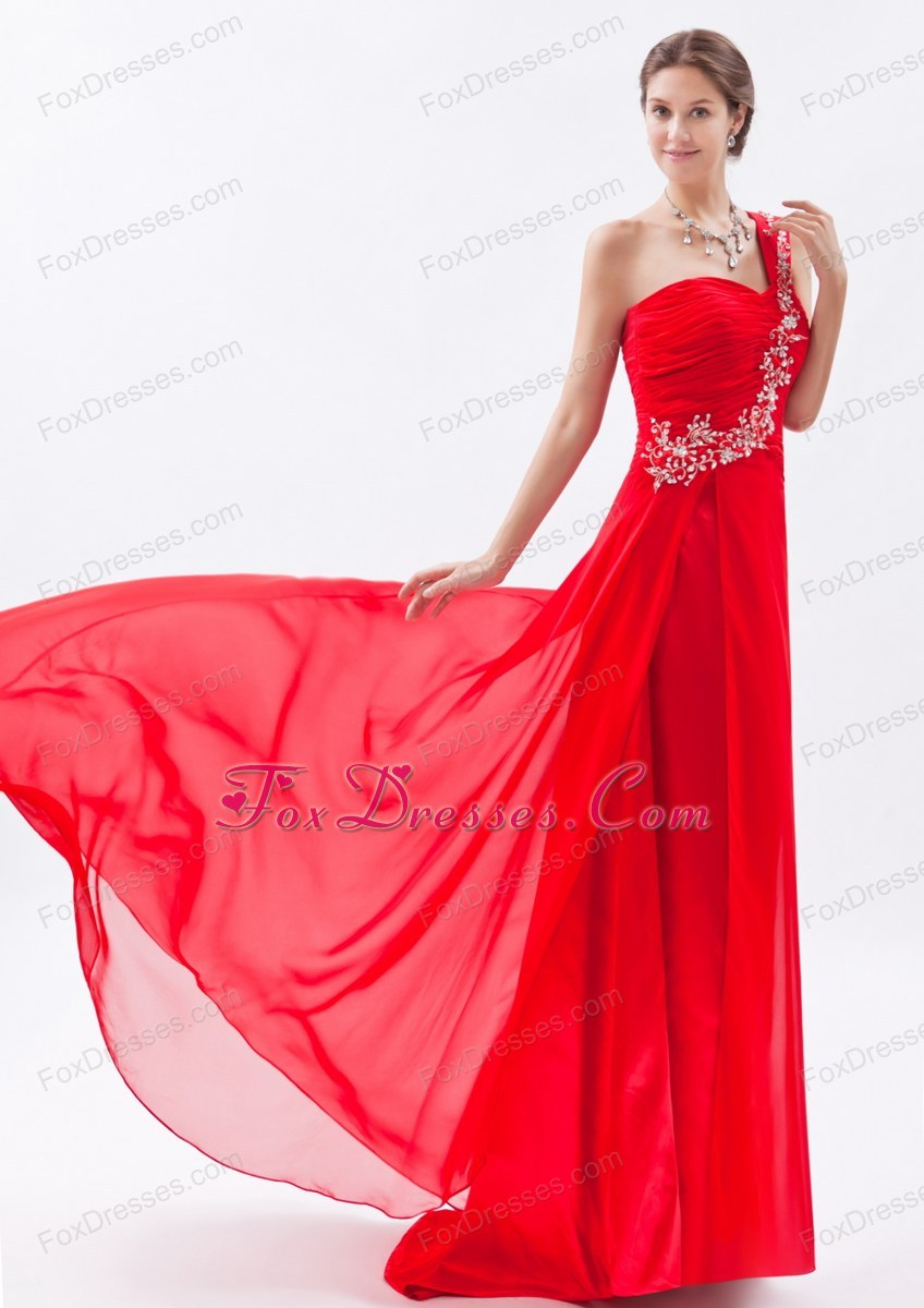 One Shoulder Red Empire Brush Train Appliques Prom Dress