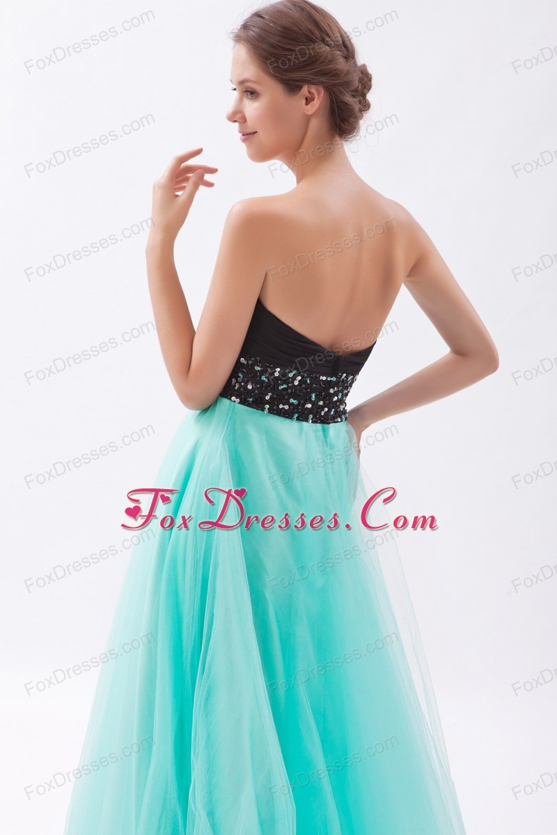 and Turquoise Beading Sweetheart Floor-length Prom Dress
