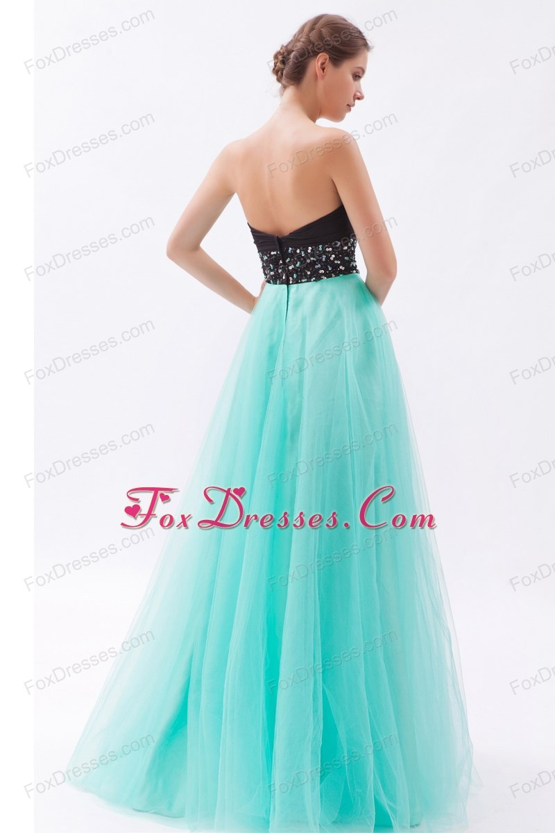 Black and Turquoise Beading Sweetheart Floor-length Prom Dress