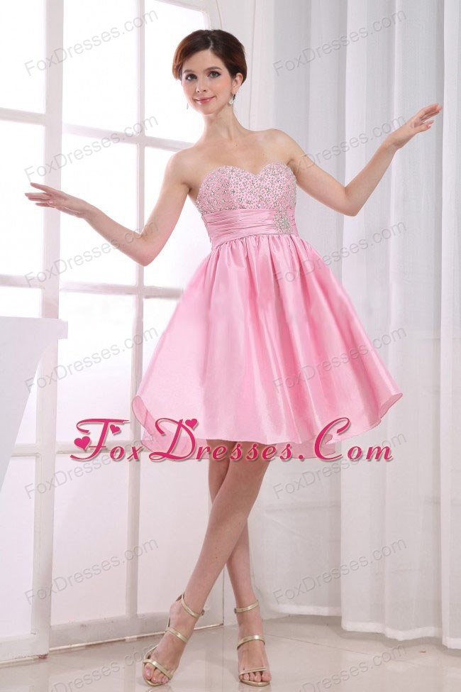 Short Beading Pink Prom Dress Sweetheart A-Line Knee-length