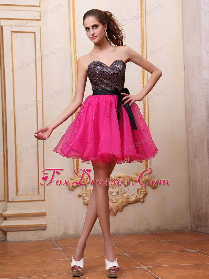 Hot Pink Short Sparkly Prom Dresses