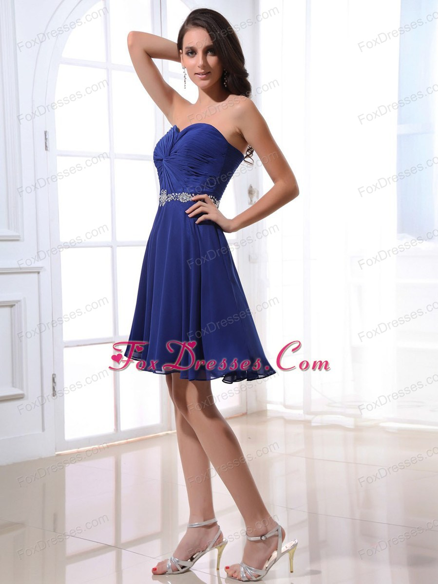 Short Sweetheart Beading Royal Blue Simple Prom Dress