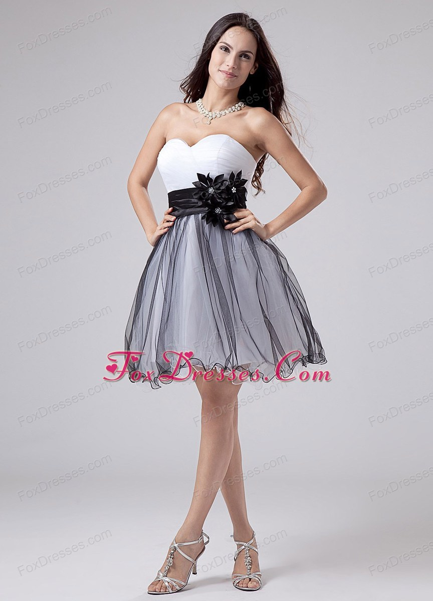 2013 Prom Dress White and Black Sweetheart With Sash Ruching