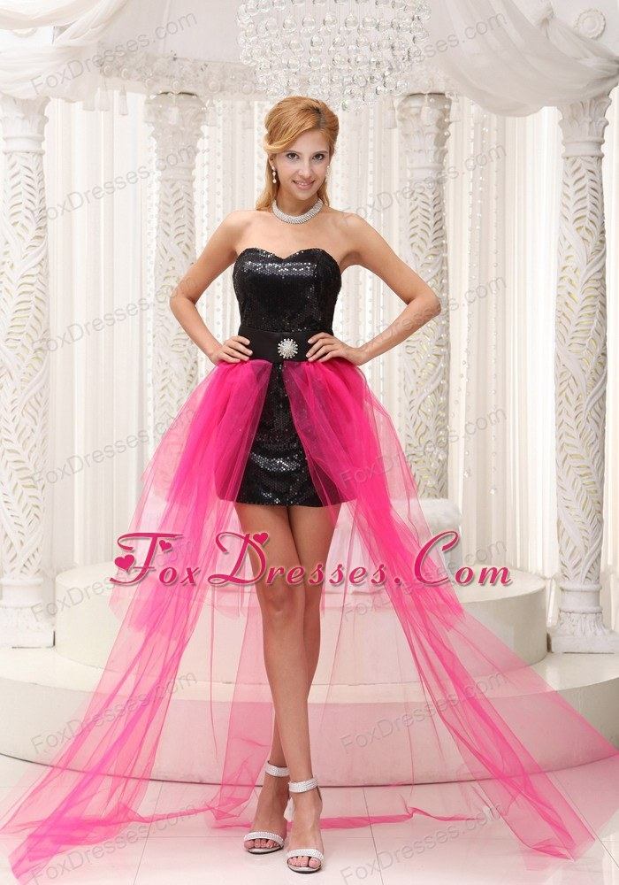 High-low Black and Hot Pink Paillette Cheap Prom Dress