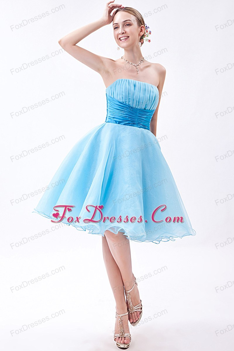 Baby Blue Ruche Strapless Prom Dress A-line