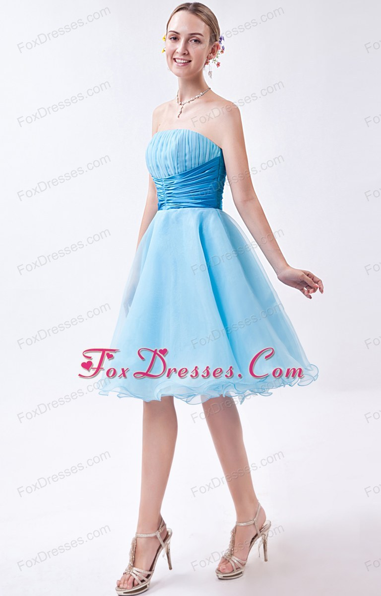 Short Baby Blue Ruche Strapless Prom Dress A Line