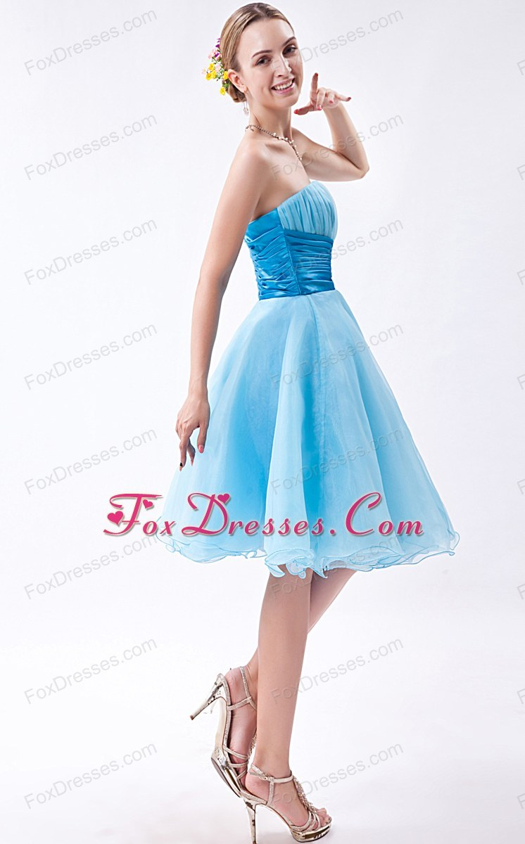Short Baby Blue Ruche Strapless Prom Dress A-line