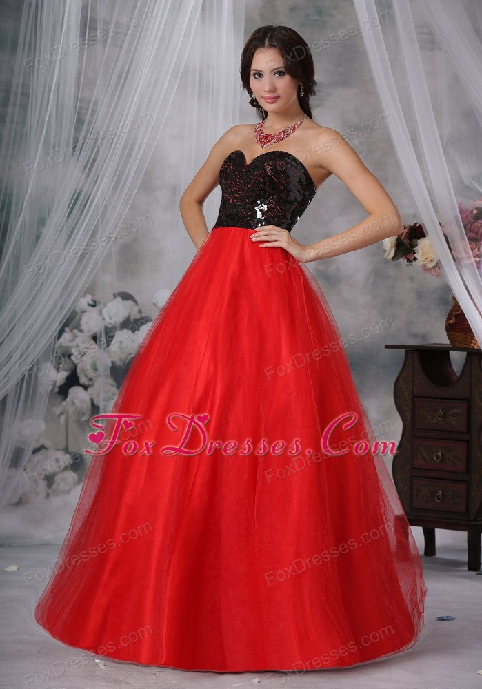Red And Black Long Prom Pageant Dress