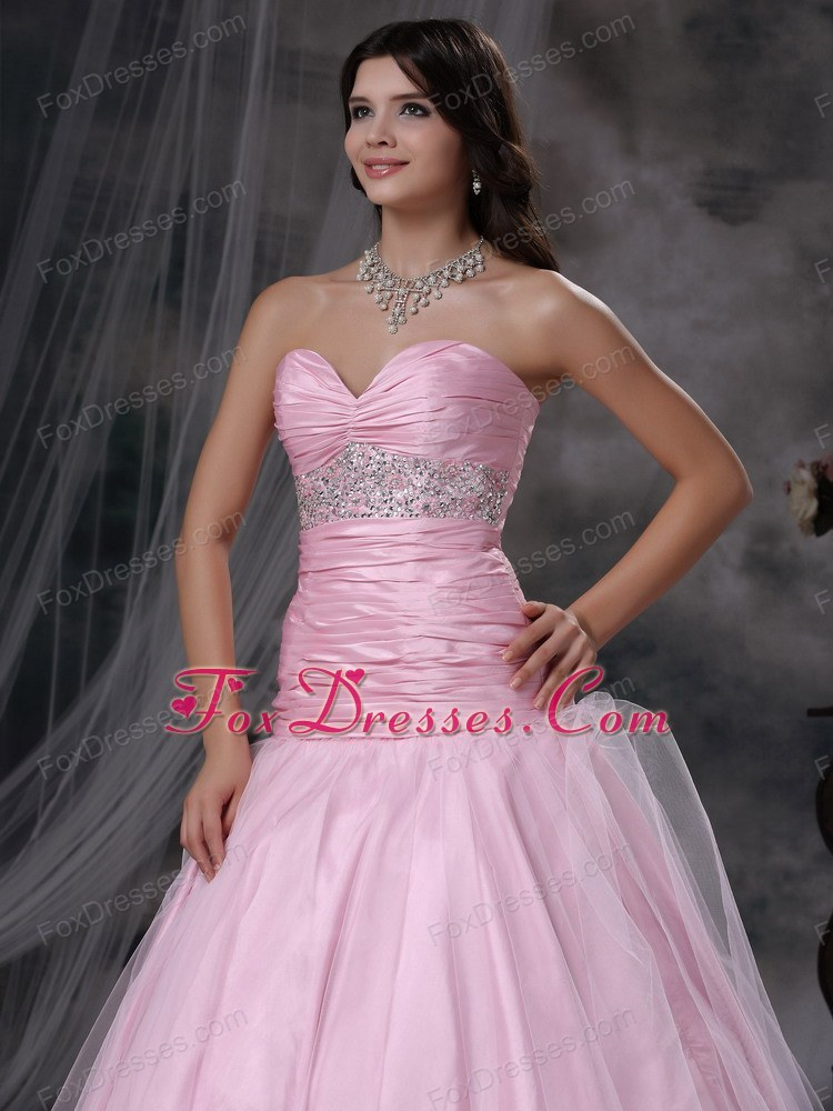Discount Prom Dress Baby Pink Mermaid Sweetheart Beading