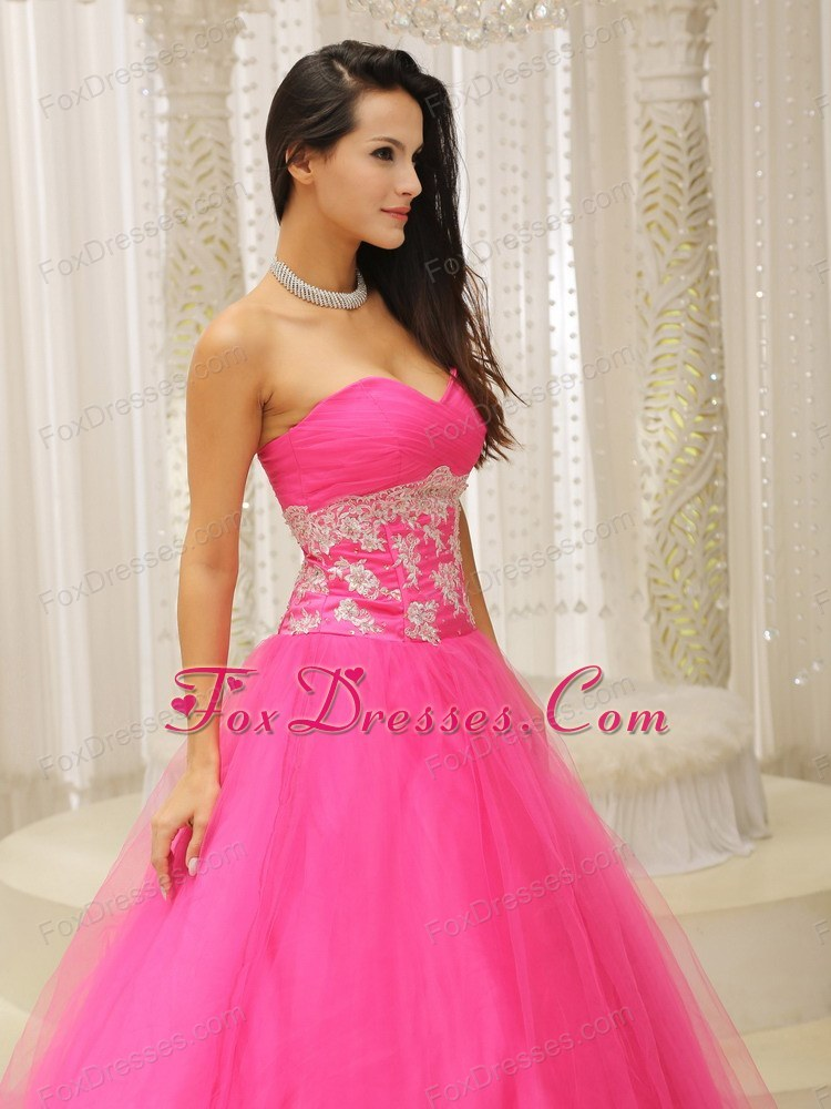 Cute Appliques A-line Prom Dress With Hot Pink Sweetheart