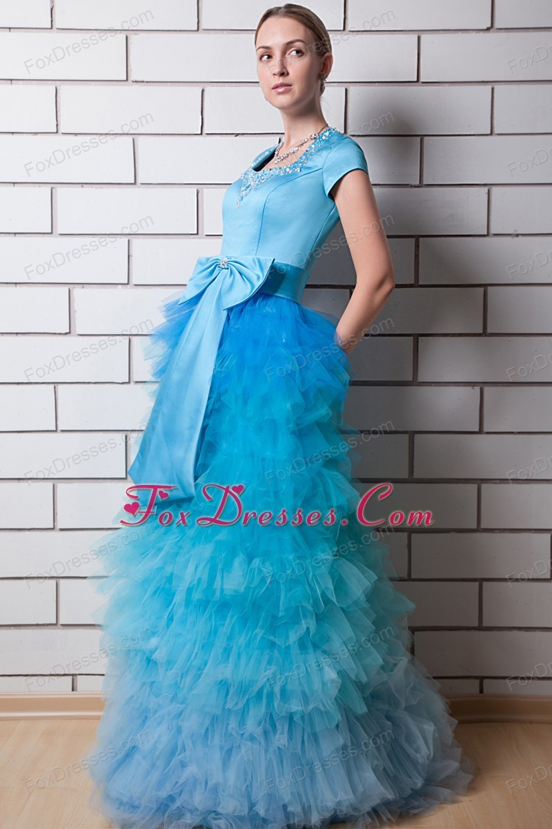 Blue Column Layers Square Organza Prom Dress Bow
