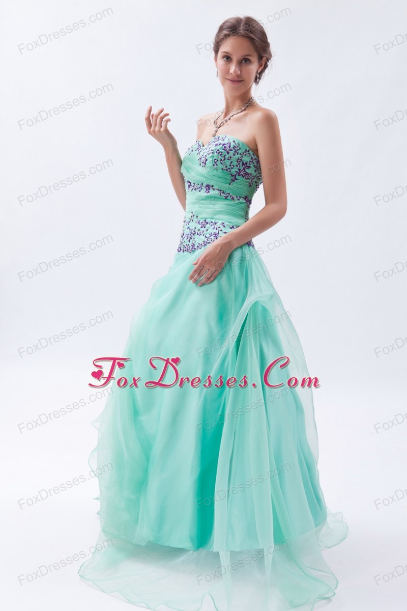 Apple Green Empire Embroidery with Beading Prom Dress