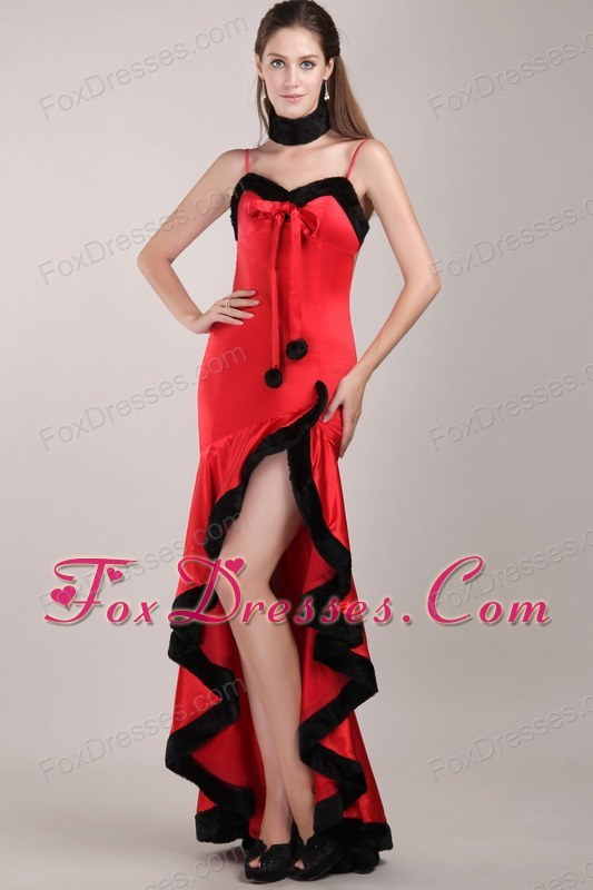 High-low Beading Red and Black Vintage Black And Red Bridesmaid Dresses