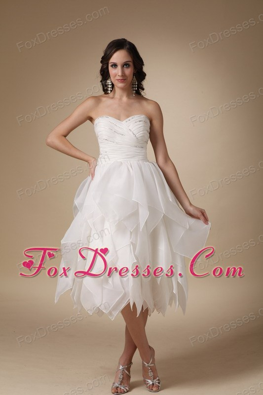 Ruched Sweetheart Tea-length Wedding Dress Handkerchief Hem