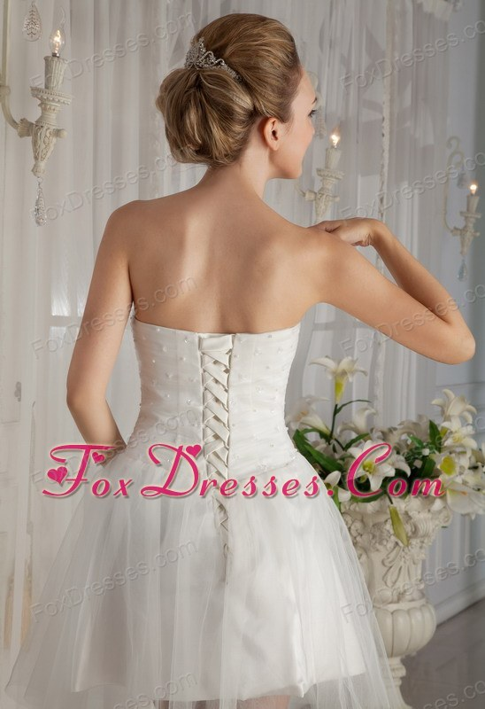 Strapless Mini Length Wedding Dress Organza Beading