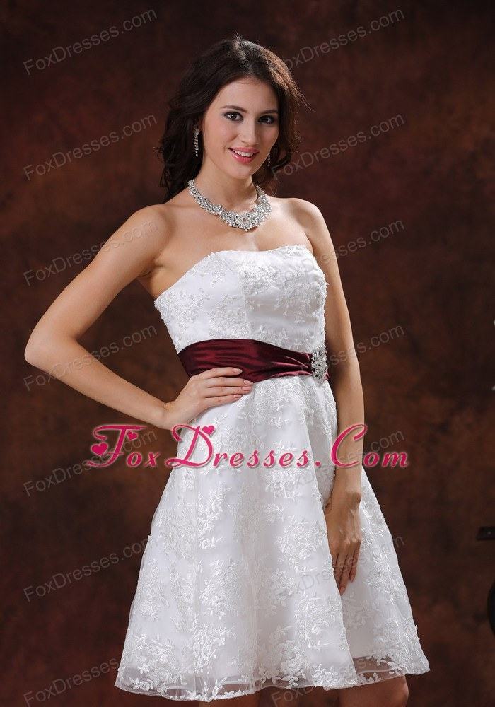 Elegant short wedding dress wine red belt lace unique for Wedding dress with red belt