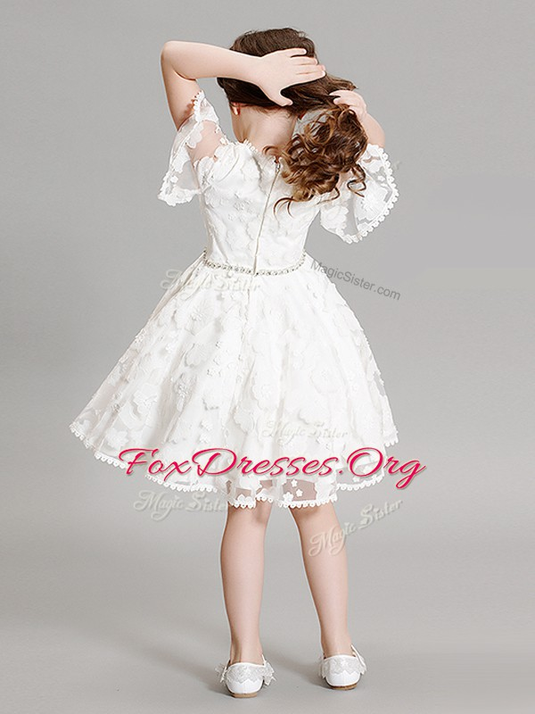 Admirable High-neck Short Sleeves Zipper Flower Girl Dress White Organza
