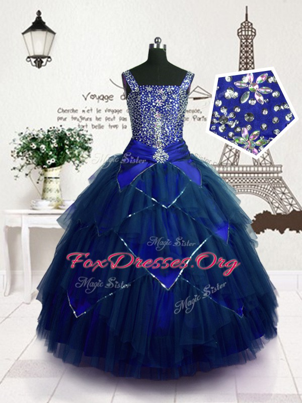 Cute Floor Length Royal Blue Juniors Party Dress Straps Sleeveless Lace Up