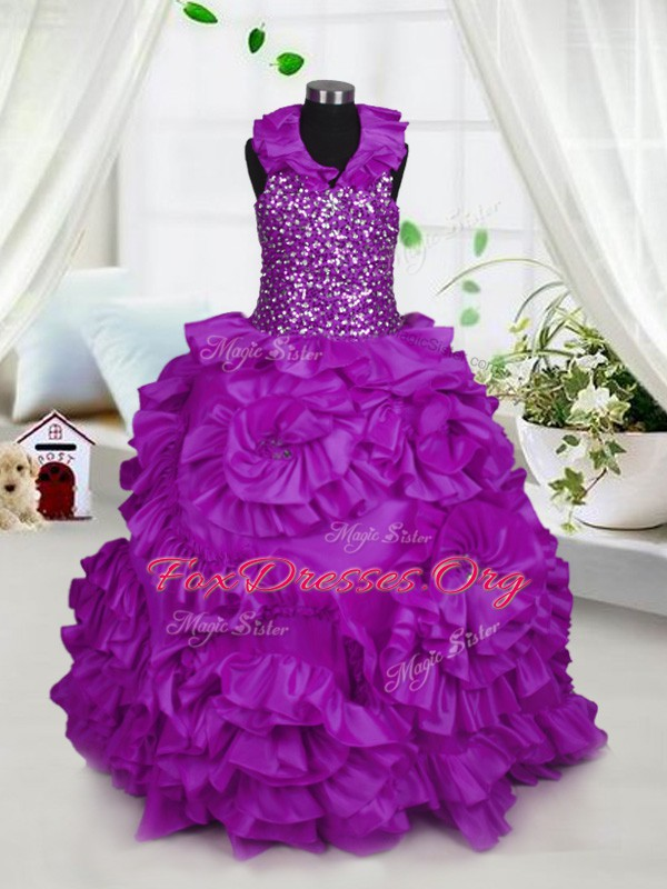 Halter Top Floor Length Ball Gowns Sleeveless Purple Casual Dresses Zipper